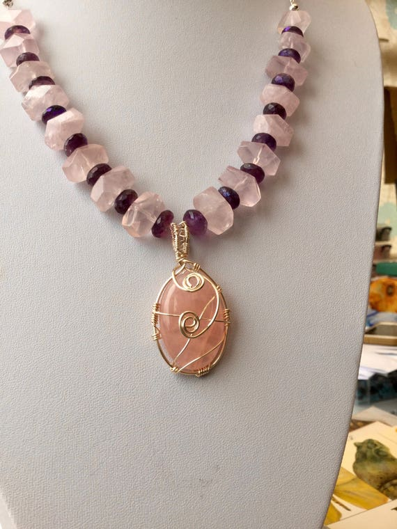 Love Yourself First  - Rose Quartz & Amethyst Necklace with Pendant