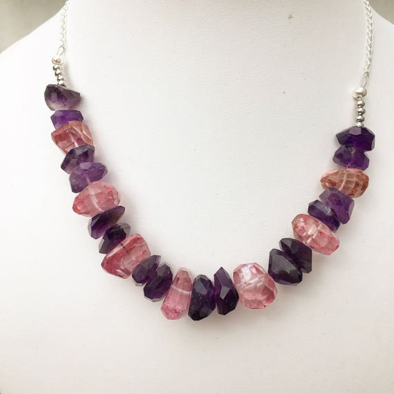 Faceted African Amethyst & Pink Quartz Sterling Silver Necklace