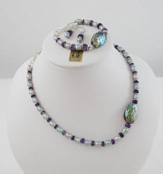 Always Be Unique  - Amethyst & Pearl Necklace ,Bracelet and Sterling Silver Earring set