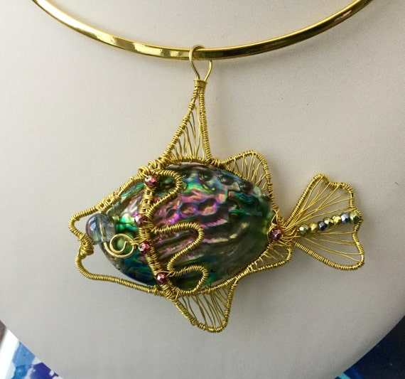 PERFECT PISCES.  Abalone, Pyrite & Quartz Hand wrapped Angelfish