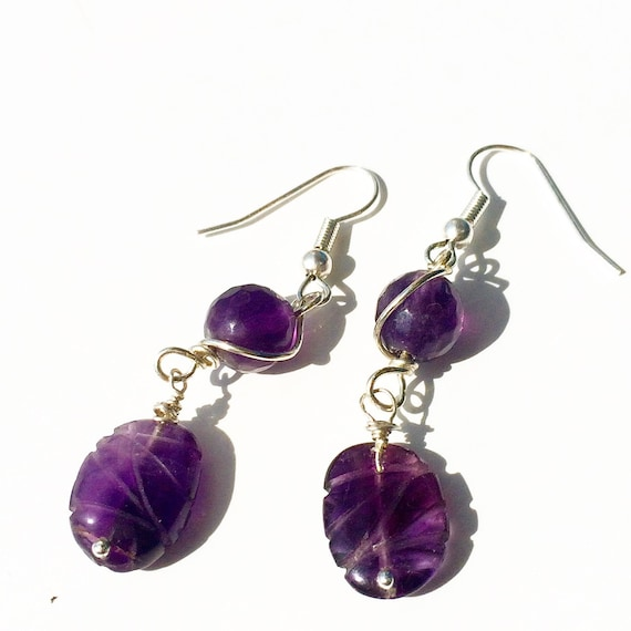 PURPLE PASSION.  Carved Amethyst & Fluorite Earrings.
