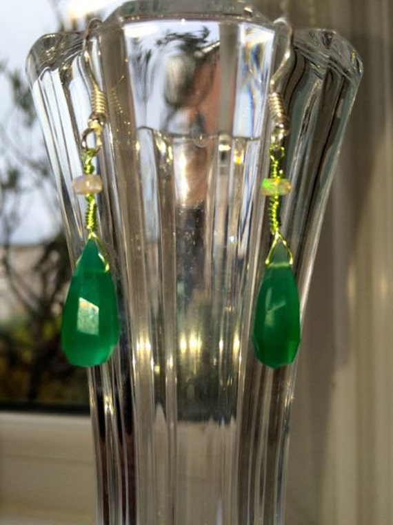 Springtime Surprise. Green Onyx & Ethiopian Opal Earrings