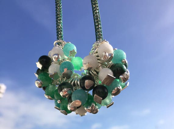 Glorious Greens. Multi Quartz Charms Bubble Necklace