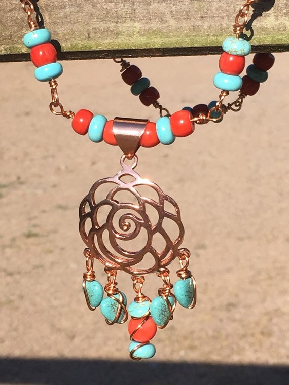 Beautiful Boho Lotus - Coral & Magnesite Rosary Necklace
