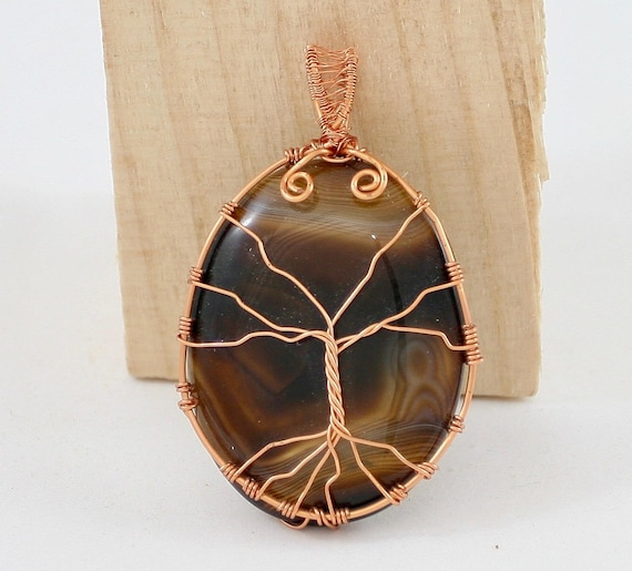 Botswana Tree of Life.  Botswana Agate Tree of Life Pendant