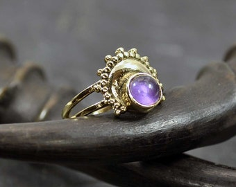 STONE ring, Gemstone bass ring, Moon gold ring, Bohemian ring, Midi ring, Witch jewelry, Vintage wear, Turquoise ring, Stacking ring