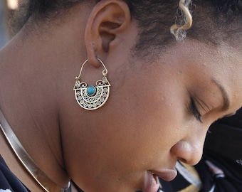 STONE Brass earrings, African Jewelry, Tribal earrings, Gypsy hoop earrings, Vintage jewelry, Boho jewelry, Gifts for her, Geometryc