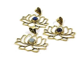 FLOWER pendant, LOTUS flower pendant, Lotus brass pendant, Flower necklace, Boho necklace, Sacred lotus pendant, Nilo rose, Golden jewelry
