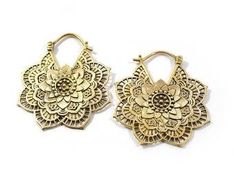 FLOWER mandala earrings, Brass gold earrings, Tribal earrings, Carved hoop, Summer festival jewelry, Boho jewelry, Gifts for her,