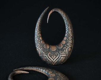 WOOD EXPANDER, BADRU earrings, Hibiscus flower, Carved ear weights, Sculpted wood gauges, Long wood earrings, Tribal jewelry, Hippie jewelry