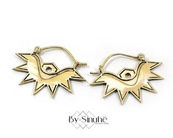 Horus eye earrings, Brass spike earrings, Egyptian hoops, Sun earrings, Bohemian gypsy style, Indian earrings, Tribal hoops, Festival cute