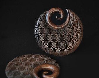 NARRA WOOD, Wood Ear Weights, Flower of life earrings, TAU gauges, Sculpted ear weights, Circle wood earrings, Sacred geometry, Expanders