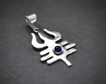 SHIVA trident pendant, TRISHULA amulet, Gemstone pendant, Moonstone necklace, Amulet, Hindu gods, Hindu jewelry, Silver pendant, Turquoise