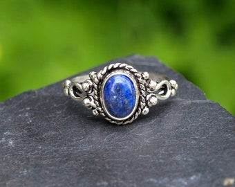 Gemstone Silver Ring,  Silver plating jewelery, Lapis lazuly egyptian stone, Onix Silvery ring, Turquoise ring for her