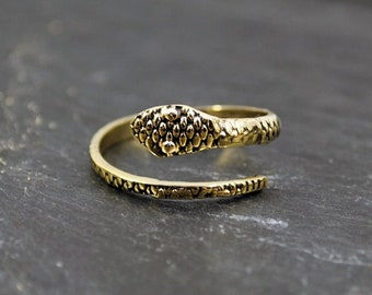 SNAKE ring, Animal jewelry, Serpent ring, Brass snake ring, Wrap ring, Snake jewelry, Steampunk, Punk rock jewelry, Silvery, Gothic jewelry