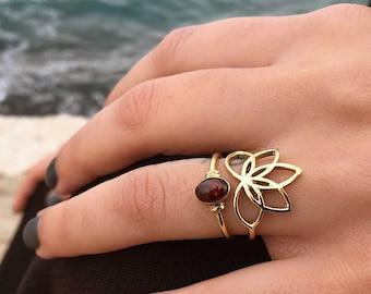 Lotus Ring, Flower Ring, Lotus design, Boho Ring, Bohemian jewelry, Lotus Jewelry, Brass ring, Flower jewelry, Organic, Nature jewelry, Loto