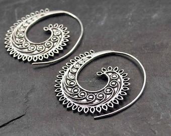 Spiral earrings, Silver Hippie earrings, Ethnic jewelry, Tattoo jewelry, Bohemian hoops, Fashion earrings, Spike earrings, Steampunk