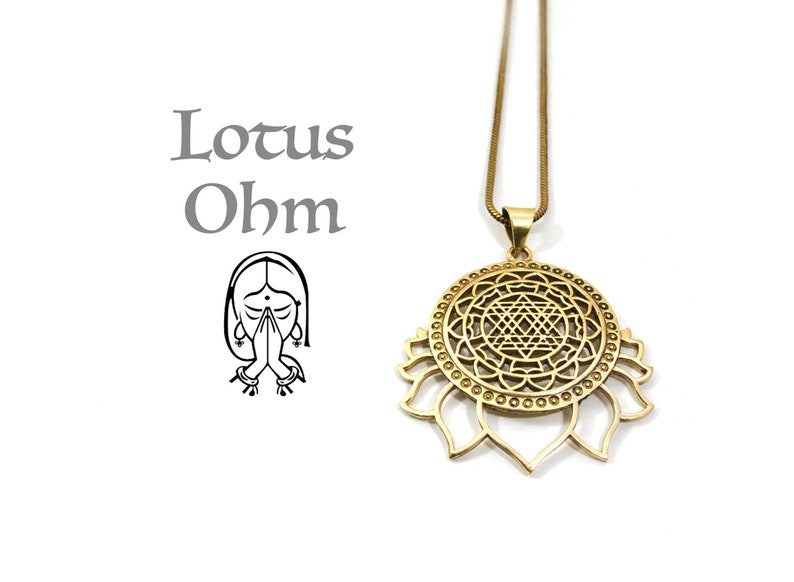 Lotus brass pendant, Lotto flower buddish, Mantra yoga jewelry, Golden  mistical necklace, Sacred geometry, Sri yantra, Shree yantra healing