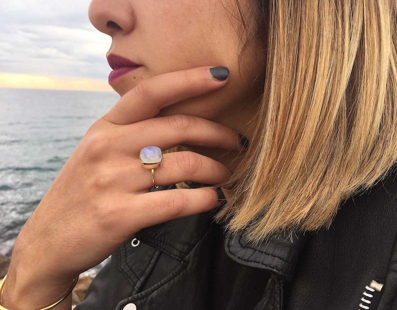 0ab71e3cb56e SQUARE stone ring Brass ring Moonstone ring Original