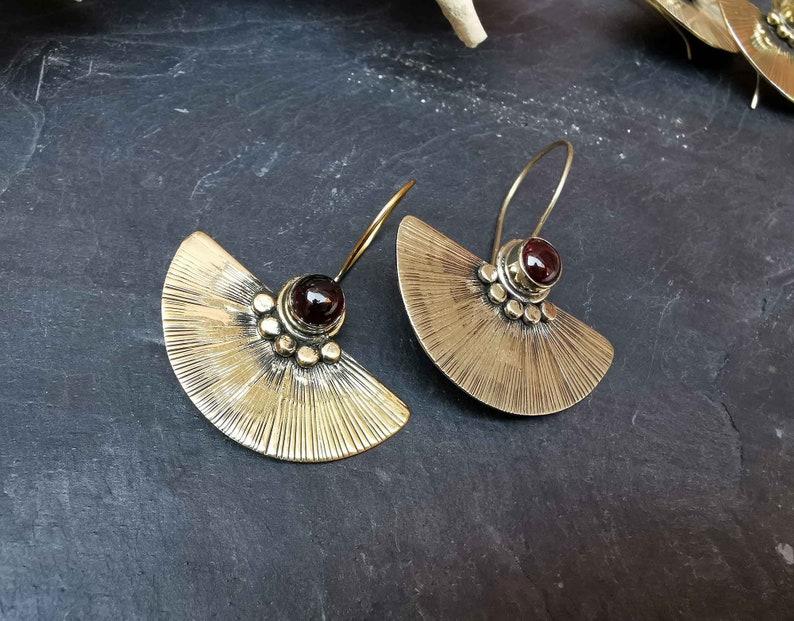 Garnet earrings Bohemian earrings Moonstone earrings Tribal earrings Fan earrings Butterfly Gypsy earrings AFRICAN Golden earrings