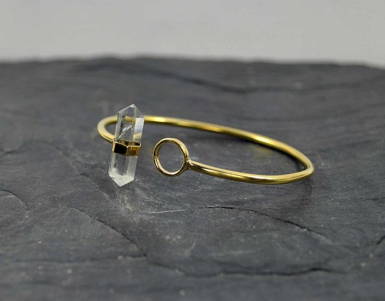 Boho crystal Crystal jewelry Quartz bracelet Gold bangle Healing bracelet QUARTZ brass bracelet Energy bracelet Bar rigid bracelet