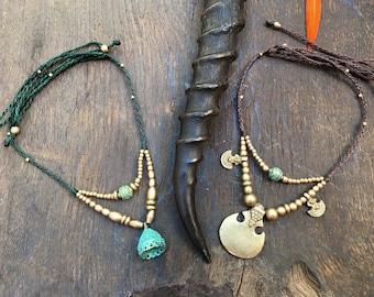 BEADED necklace, Brass pendant, Shiva trisula pendant, Viking jewelry, Tribal trance pendant, Knot jewellery, Hippie ethnic, Nature jewels