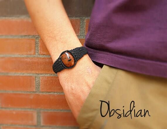 makrameearmband f r m nner m nner schmuck obsidian armband. Black Bedroom Furniture Sets. Home Design Ideas