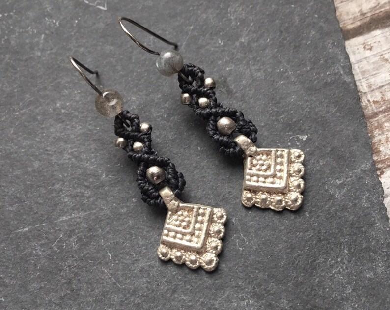 PendantVintage Earrings Blue EarringsEgytian JewelrySilvery Dark Bead Macrame Bohemian ZuikPX