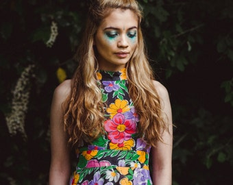 Floral Hippie Gypsy Maxi Dress. Boho Dress. Bohemian Dress. Hippie Dress. Vintage Clothing Festival Clothing. Boho Maxi Dress. Gypsy Dress.