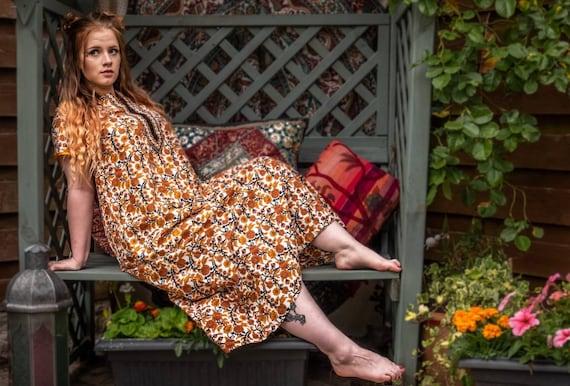 Festival Fashion. Kaftan Dress. Orange Dress. Psyc