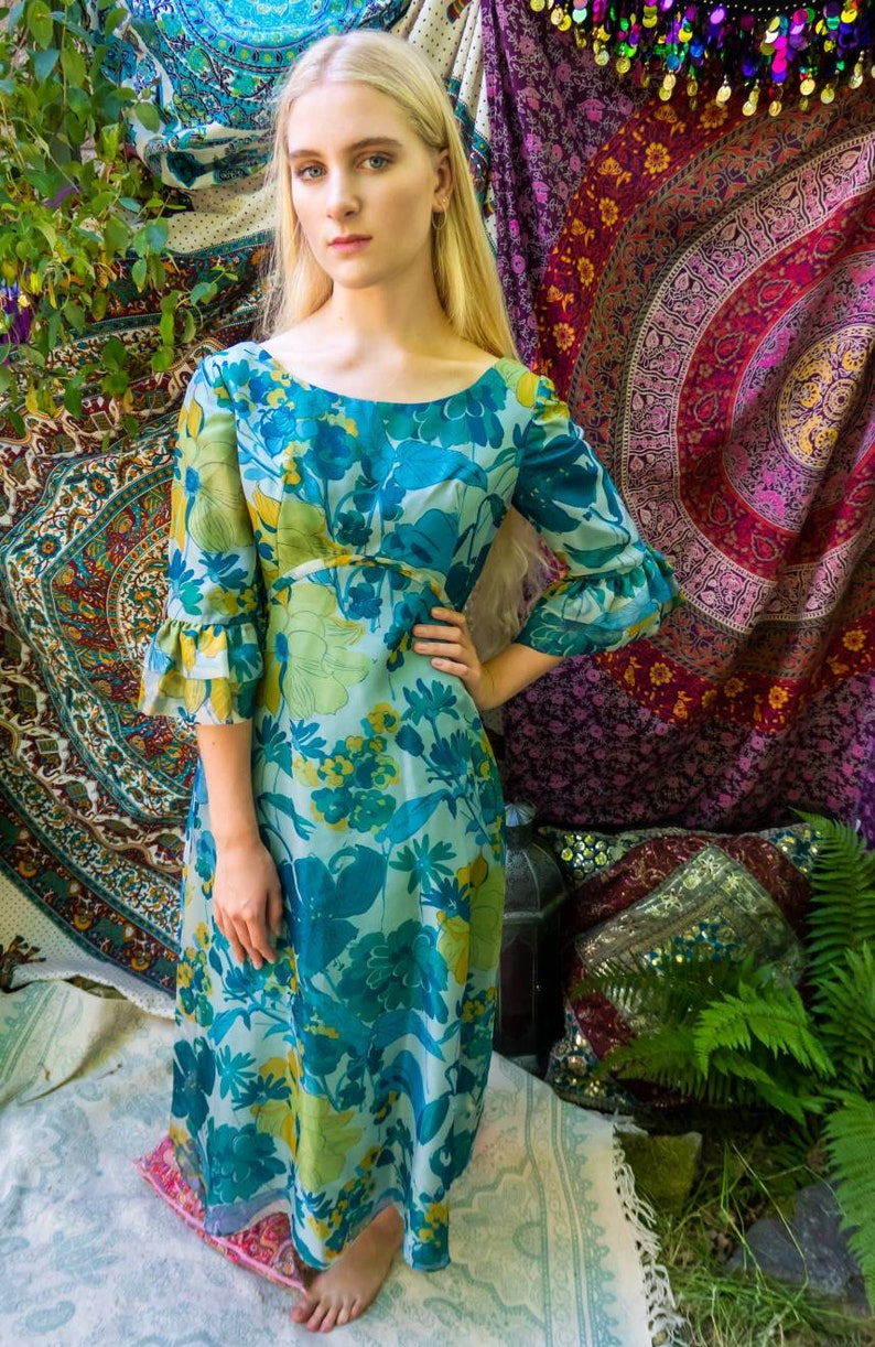 60s Hippie Dress Retro Prom Dress Bohemian Clothes.