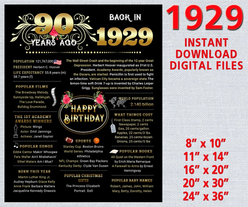 90th birthday poster for party decoration for women, chalk board sign, 90  birthday gifts, USA Facts 1929 DIGITAL FILE instant download
