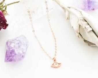 Evil eye necklace, Rose gold evil eye necklace, 18K rose gold, Rose gold chain, Protection necklace, Yoga necklace gift, BFF gift,Dalaï Mala