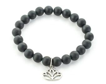 Black agate bracelet, Meditation mala, Lotus flower bracelet, Mala bracelet, Minimalist bracelet, Gift for her, Gemstones bracelet, Yoga
