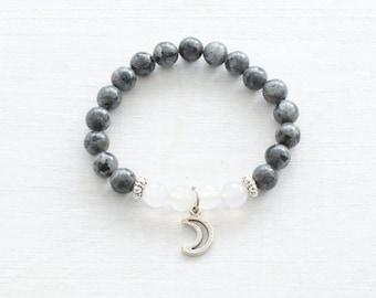 Moon bracelet, Mala bracelet, Labradorite bracelet, Stretch bracelet, Gemstones bracelet, Meditation bracelet, Yoga bracelet, Dalaï Mala
