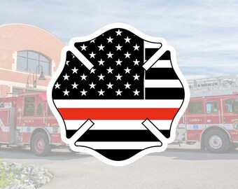 Firefighter | Thin Red Line | Emblem Glossy UV/Water Resistant Sticker (7 to Choose from), Sold Individually