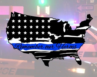 Police | Thin Blue Line | USA Glossy UV/Water Resistant Sticker (2 to Choose from), Sold Individually