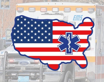 EMS | EMT | Paramedic | Emblem Flag Glossy UV/Water Resistant Sticker (2 to Choose from), Sold Individually