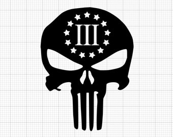 Punisher Three Percenter Indoor/Outdoor Vinyl Decal - 86 Colors Available