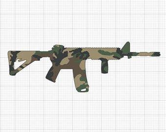 AR15 Camo Rifle Glossy UV/Water Resistant Sticker, Sold Individually
