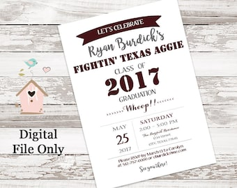 Maroon and White Texas A&M Aggie Graduation Party Invitations