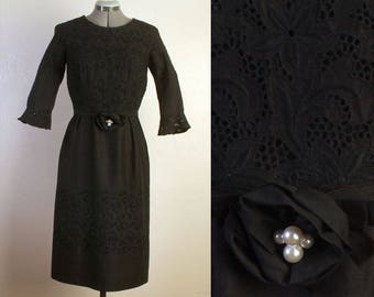 829206a625f Vintage 1950s 1960s Black Linen Floral Eyelet Lace Cocktail Holiday Lined  Dress, Removable Pearl Belt Sash Tie, 3/4 Sleeves