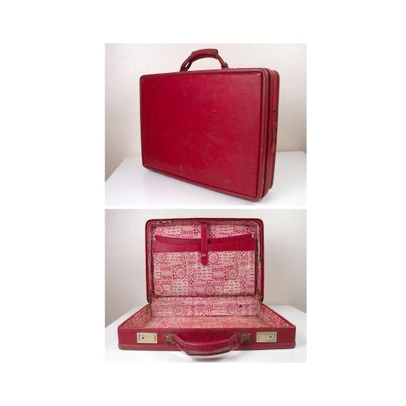 Vintage 1970s Hartmann Red Leather Travel Briefcas