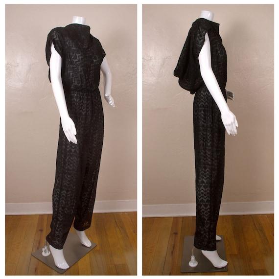 Vintage 1980s Ala Carte Black Sheer Sparkle Jumpsu