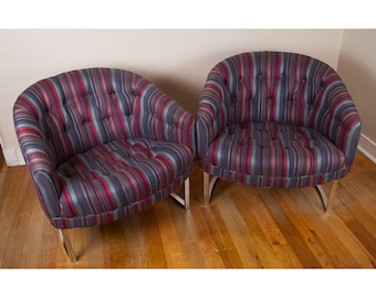 Vintage 1960s Pair of Mid Century Modern Milo Baughman for Thayer Coggin Chrome Barrel Back Striped Tufted Club Chairs - SHIPPING AVAILABLE