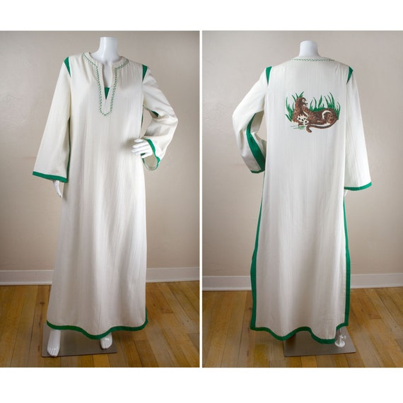 Vintage 1960s / 1970s White and Green Caftan/Kafta