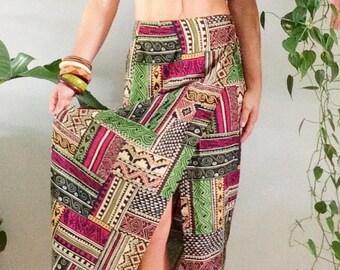Vintage 70s Wrap Skirt Boho Bohemian Modern Geometric Hippie Skirt 1970s Skirt High Waisted Ethnic Batik Brown Maroon Green S Small M Medium