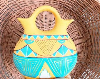 Vintage Vibrant Orange and Teal Navajo Handpainted Vase Ceramic Southwestern Vase Flower Pot Bohemian Pottery