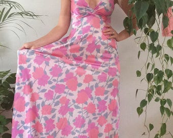 Vintage 1960s Boho Floral Dress Floral Maxi Dress Vintage 70s Boho Bohemian Dress Hippie Dress Low Back Dress Sexy Colorful Pink Boho Small