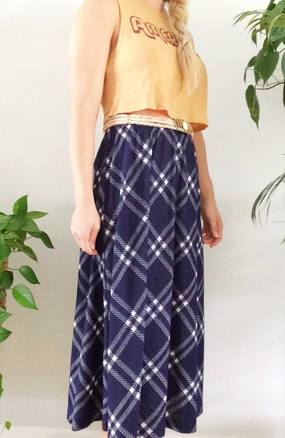 c30ed77c066e5 Vintage 80s Skirt Blue Plaid Print Cathy Daniels Midi Skirt